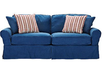 cindy crawford home denim sofa