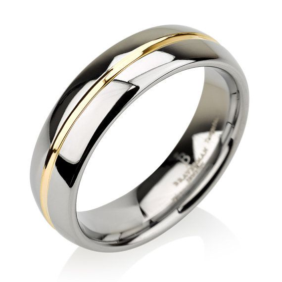 Dome Shaped Bands: Tungsten Wedding Band,Yellow Gold Inlay,Tungsten Wedding