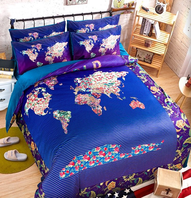 Cotton Quilt Bedding Set King Queen Twin Blue Plaid Map Printed Colourful Comforter Duvet Cover Bedspread