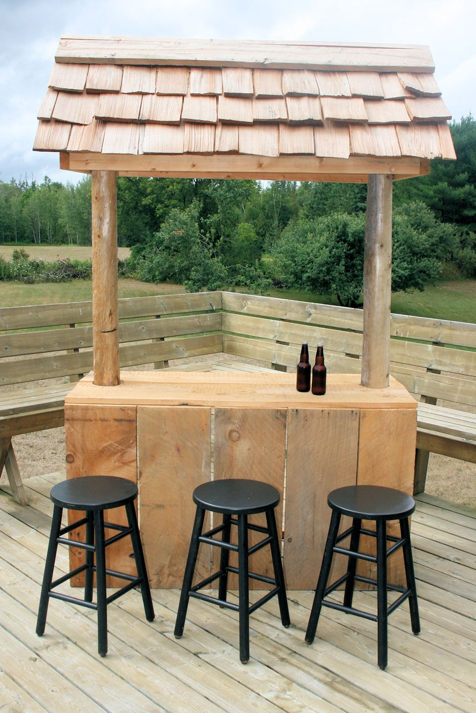 One of a kind Barnboard Bar with cedar shake roof ... on Backyard Bar With Roof id=70144