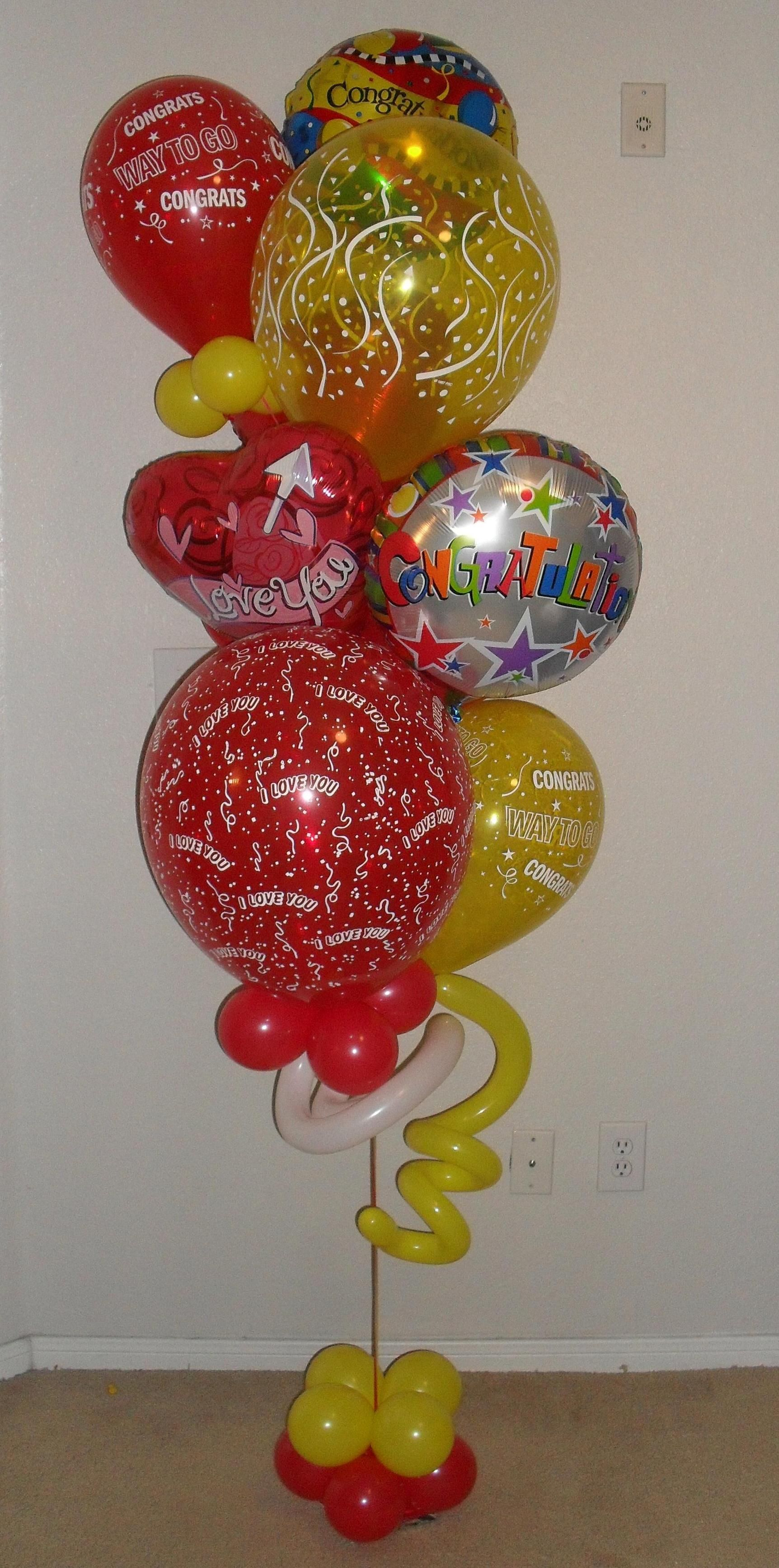 Congratulations I love you small balloon bouquet delivery arrangement $80 created by balloonsandmoregifts.com