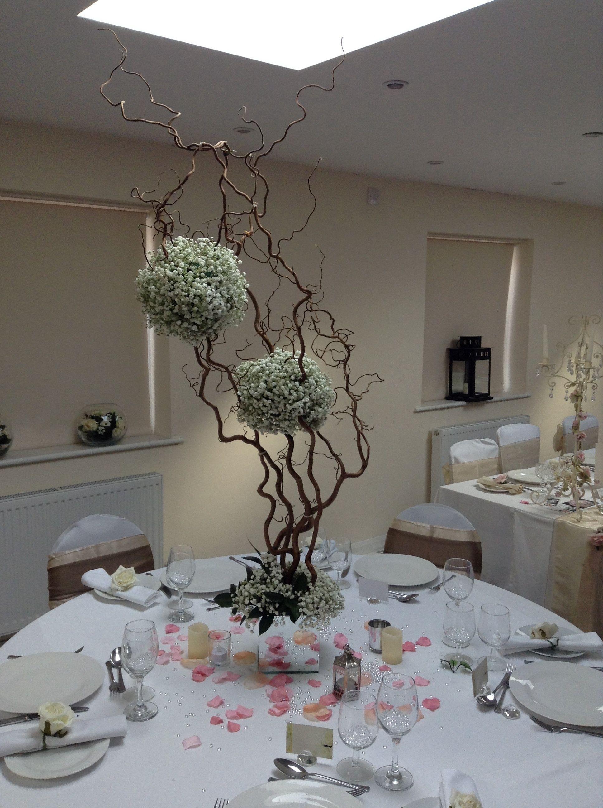 Gypsophila And Hazel Twig Centrepiece By Add Style Uk Twig Centerpieces Rustic Centerpieces Flower Display