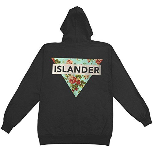 Islander Men's Floral Zippered Hooded Sweatshirt Black - http://bandshirts.org/product/islander-mens-floral-zippered-hooded-sweatshirt-black/