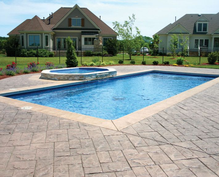 rectangle inground pool with hot tub - Google Search | Hot tubs ...