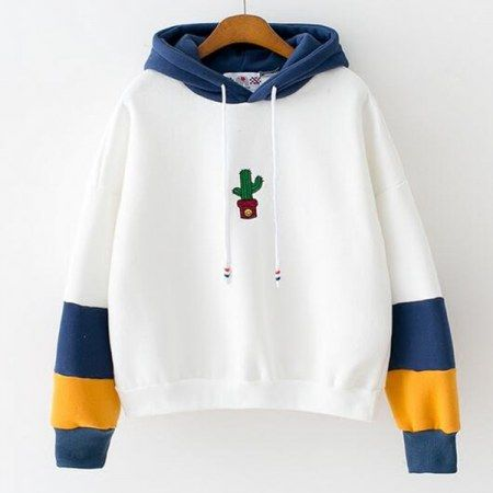 Autumn and winter Korean embroidery small cactus hit color sleeve loose  velvet hooded female students
