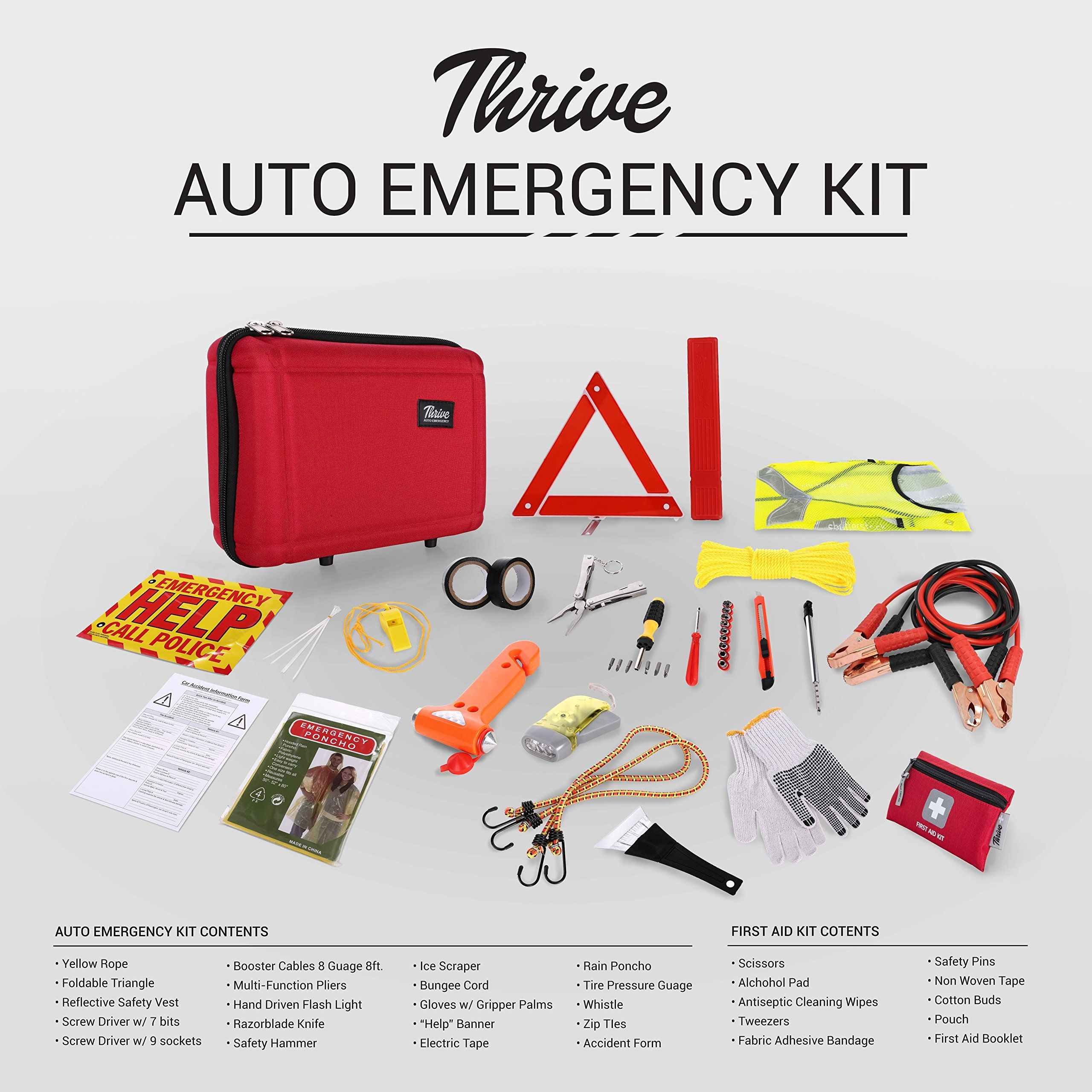 First Aid Case Thrive Roadside Assistance Auto Emergency Kit Contains...