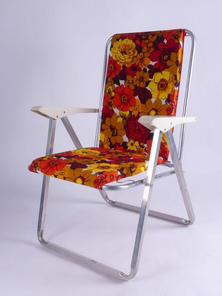 Seventies Flower Design Folding Chair Klappstuhl Camping Garten 70s