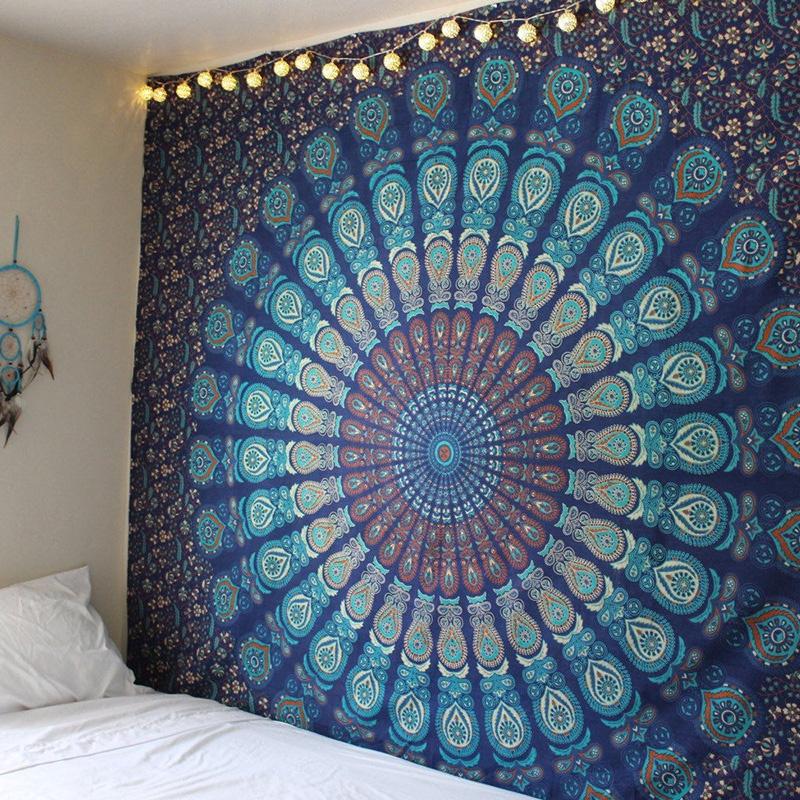 Impresión Floral Hippie Mandala Tapestry Sala Colcha Tapiz Decoración De Pared Colgante