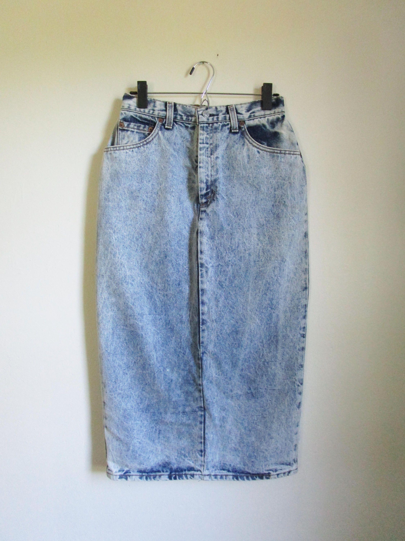 64595889d2 80s Levis Denim Skirt Acid Wash Levis Skirt Midi Skirt 80s Skirt High  Waisted Medium Skirt Eighties Style Jean Skirt by WashedCloth on Etsy