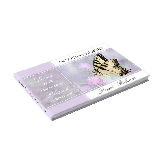 Beautiful Funeral Guest Book Template with butterfly and ...