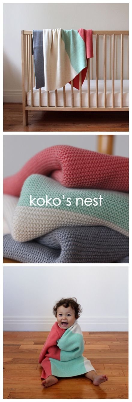 100% Egyptian Cotton // Baby's First Blanket -- Soft, luxurious, and machine…Great knit blanket for babies! Lovely modern color palette.