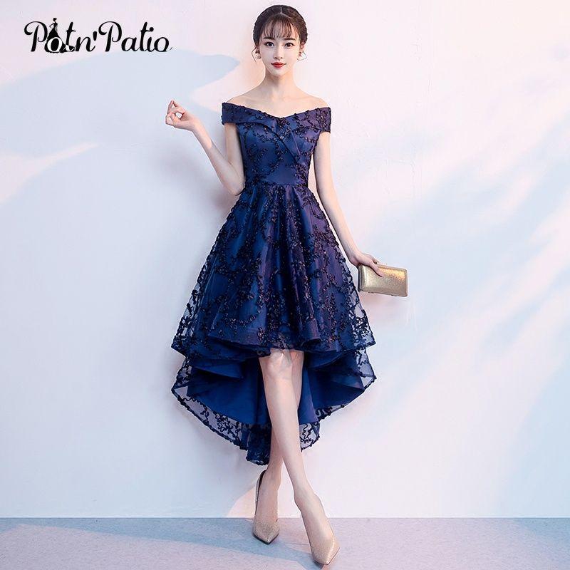 0df589b8a5 Elegant Boat Neck Off The Shoulder Navy Blue Lace High Low Bridesmaid  Dresses Plus Size New Wedding Party Dresses