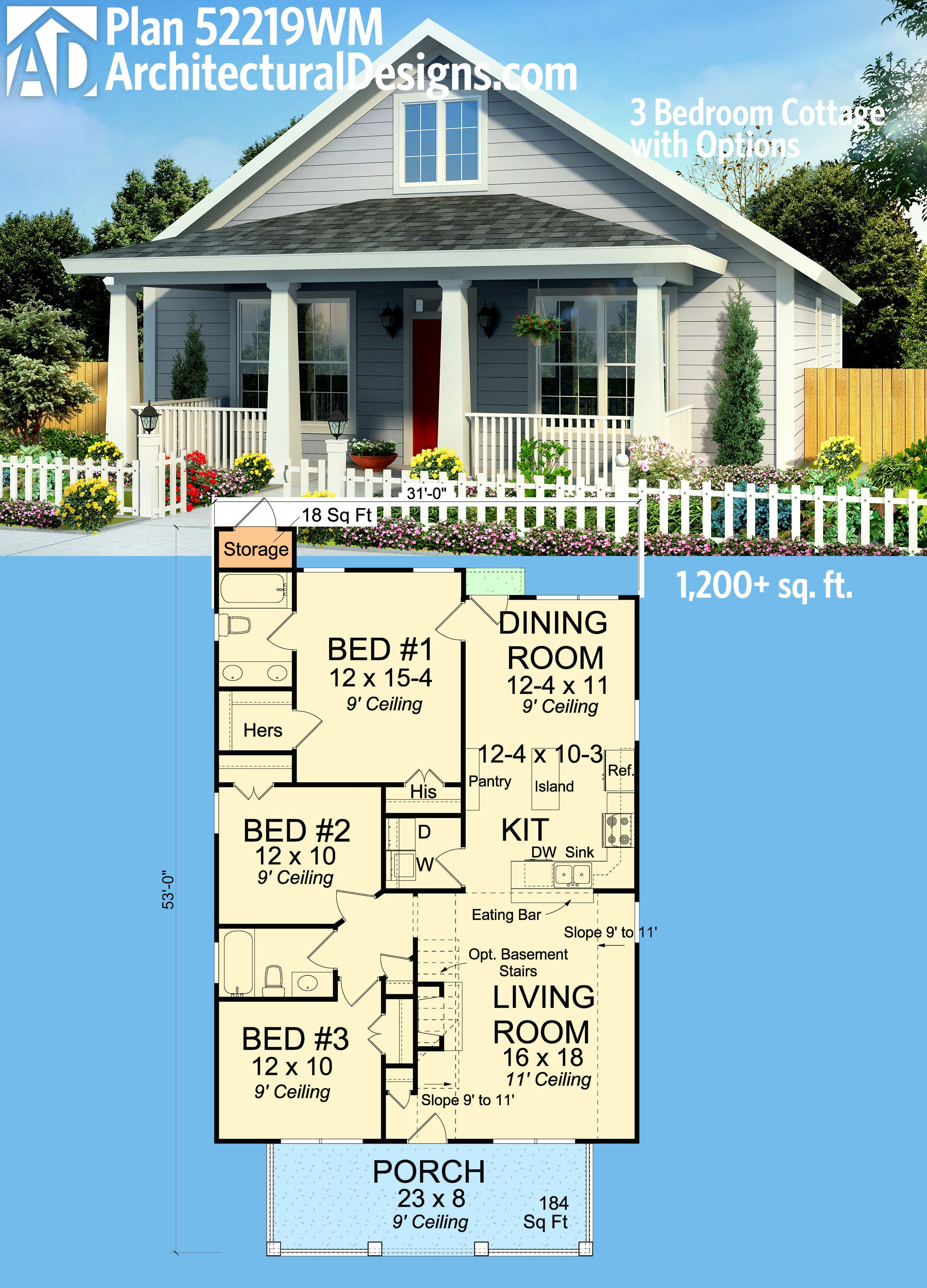Plan 52219WM 3 Bedroom Cottage with Options Cottage house Front