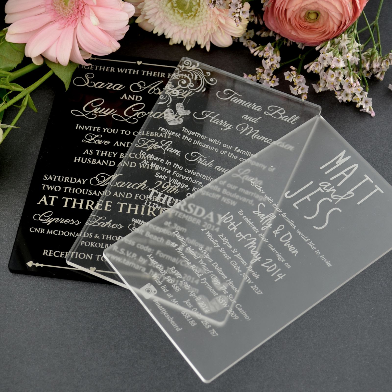 Wedding Abroad Invitation Wording Ideas: 11B Engraved Acrylic Wedding Invitations $5...PERSONALIZED