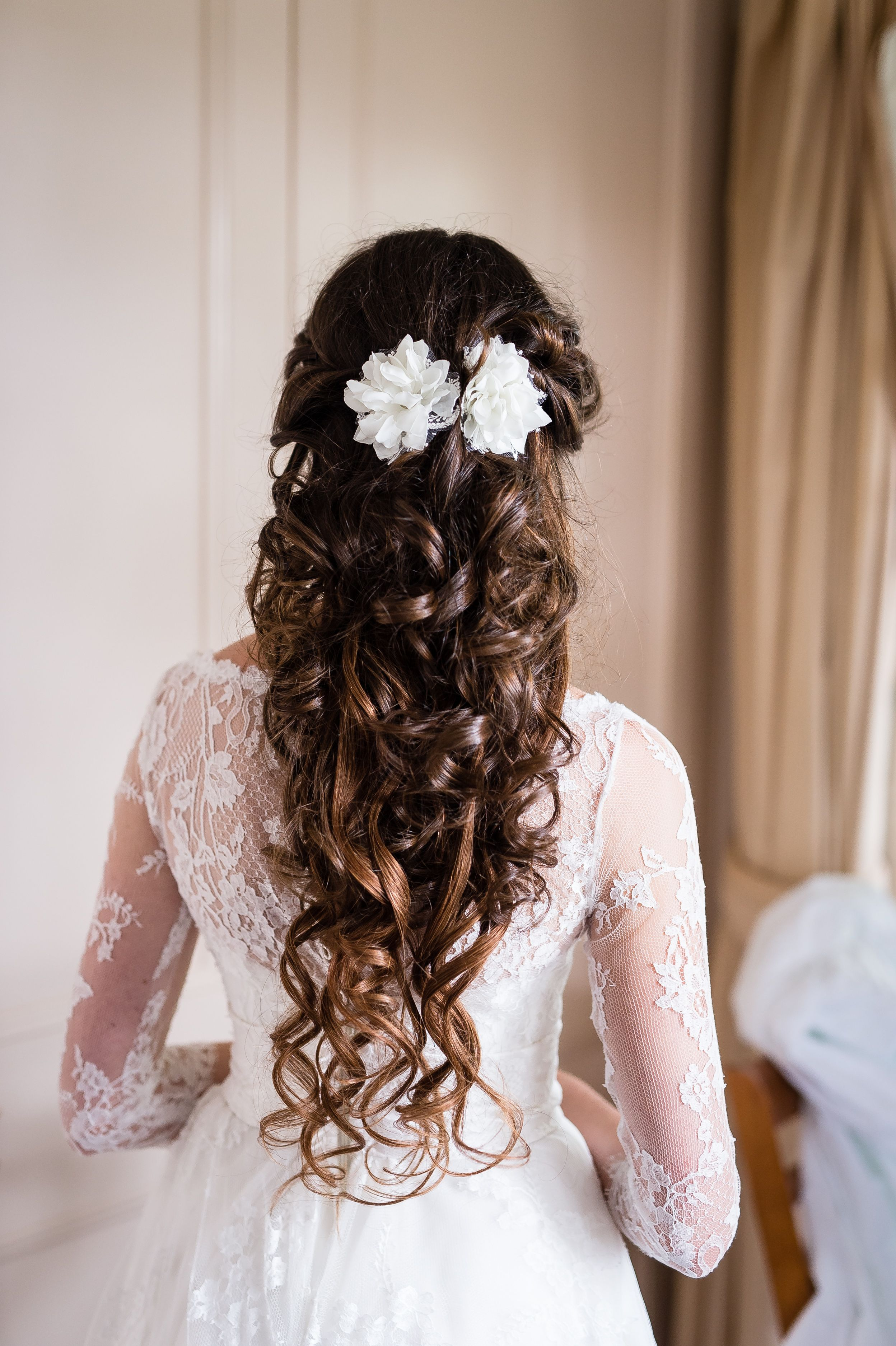 Our Blooming Bride Wearing Flower Hair Clips With Vintage Lace