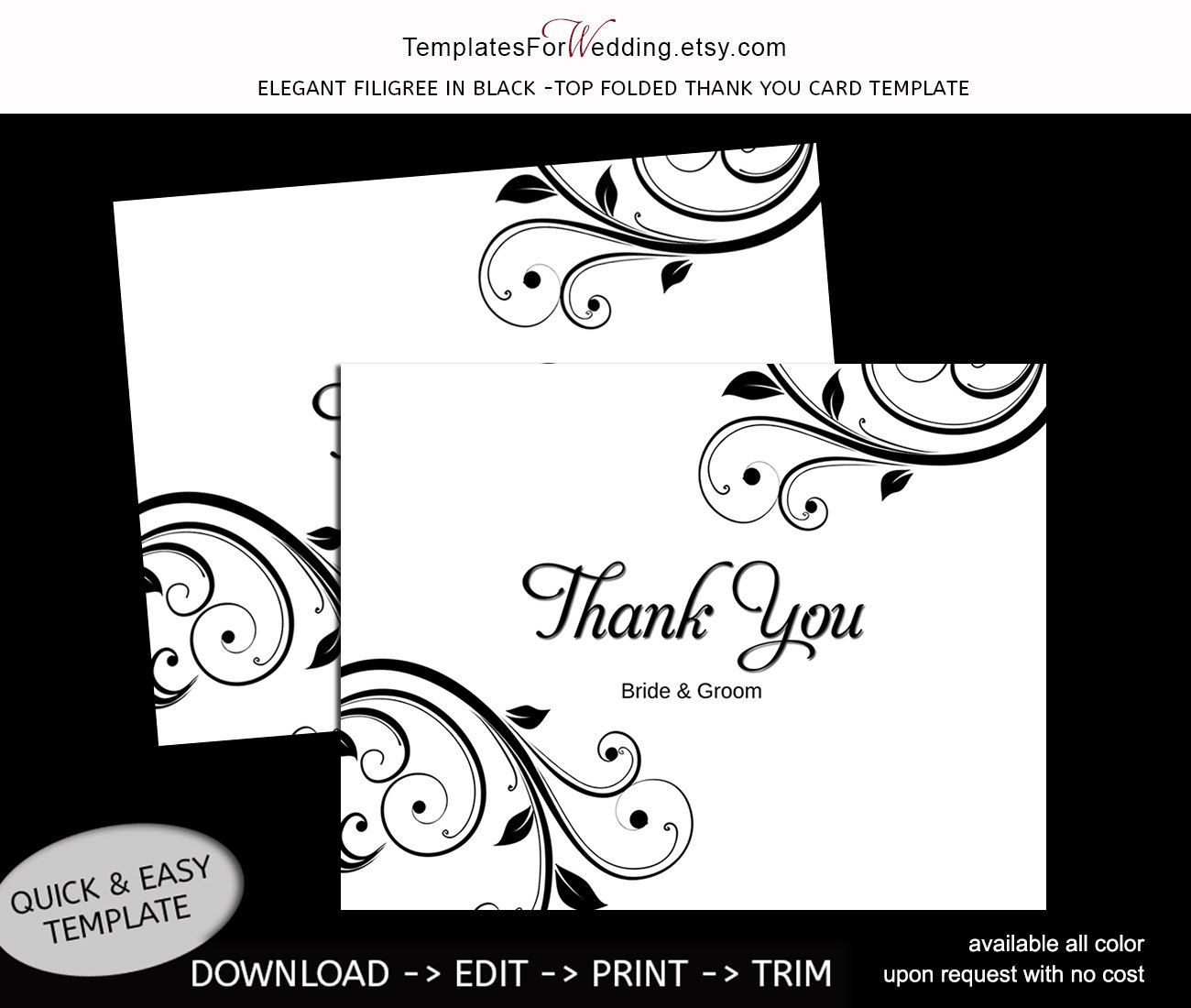 Thank you card template Instant download Editable word