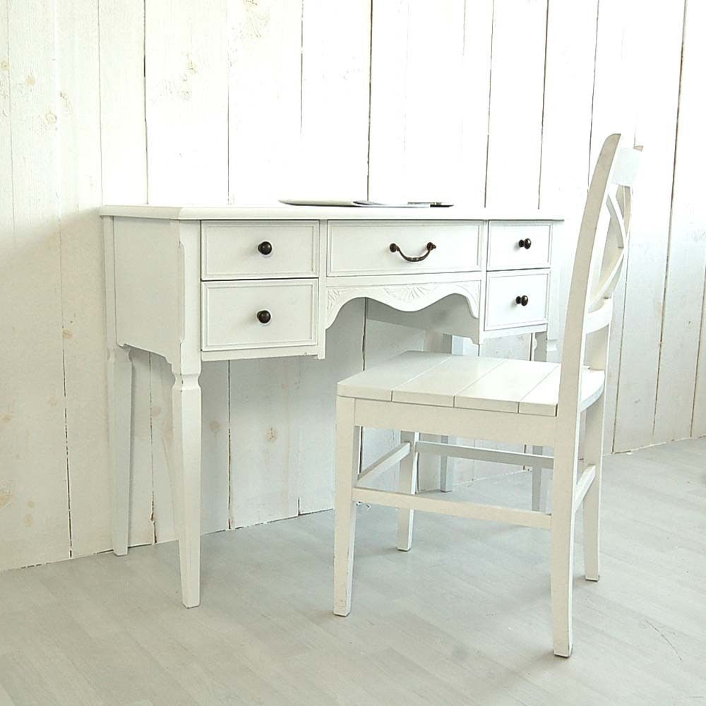 Landhaus Schreibtisch Sekretar Avignon Holz Mdf Weiss 5