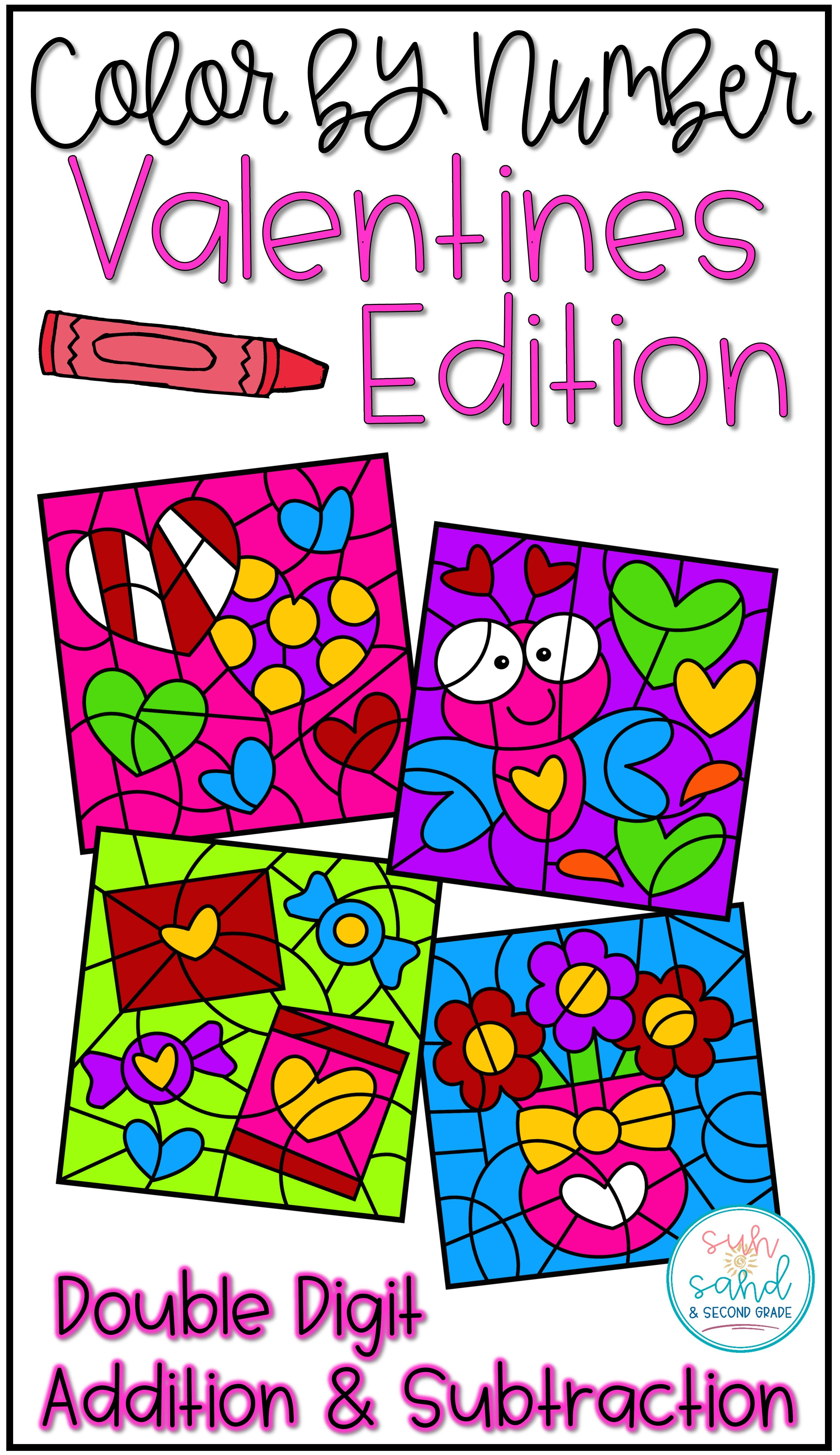 Color By Number Valentines Day Mystery Pictures Addition
