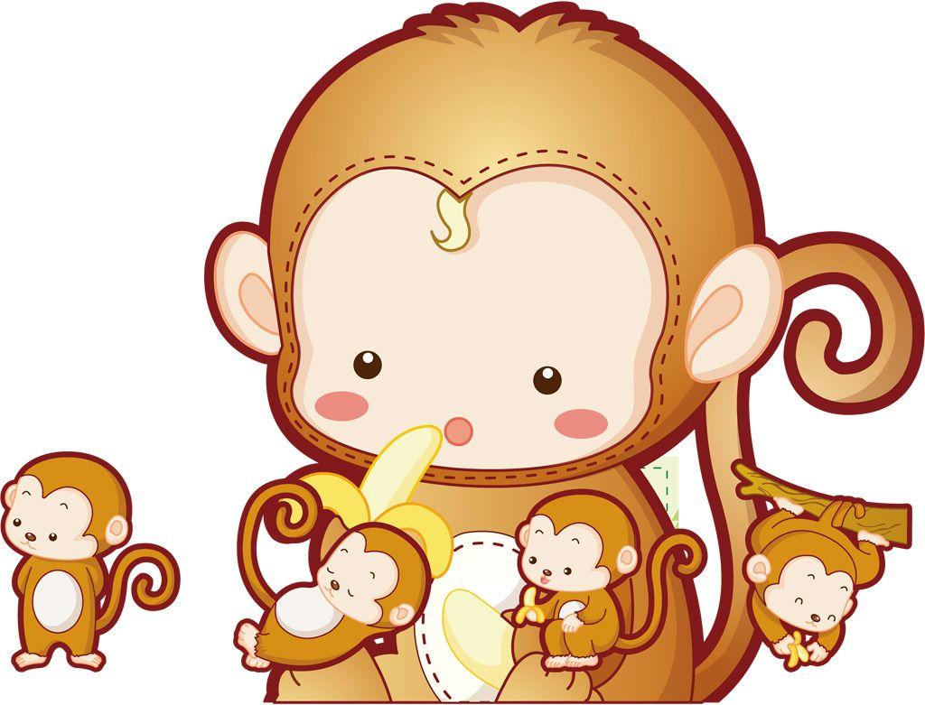 フリーイラスト素材 クリップアート 申 十二支 干支 猿 サル