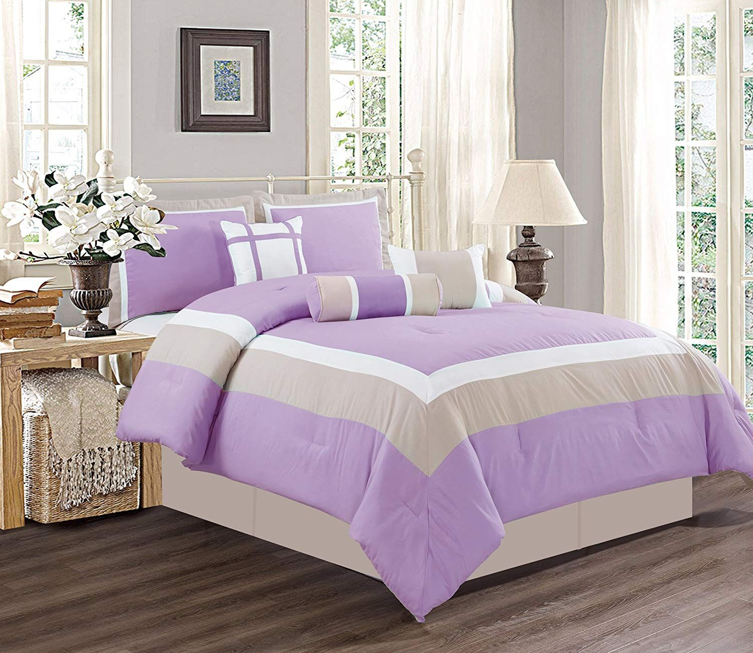 King Size Bedding Sale.7 Piece King Size Lilac Purple White Grey Color Bedding