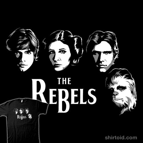 """The Rebels"" by RebelArt Luke Skywalker, Princess Leia, Han Solo, and Chewbacca in the style of The Beatles"