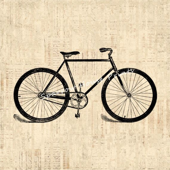 Old bicycle art antique wall art bike home by sparrowhouseprints 12 00 http