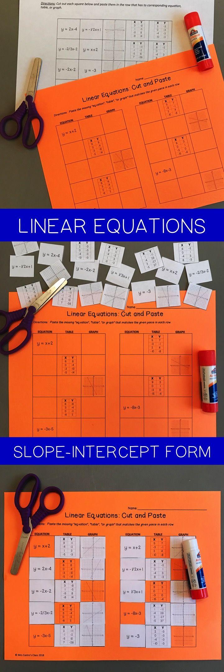 Linear Equations SlopeIntercept Form Cut and Paste