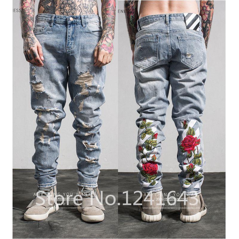 TOP qualité blanc broderie jeans Déchiré Denim Genou Trou