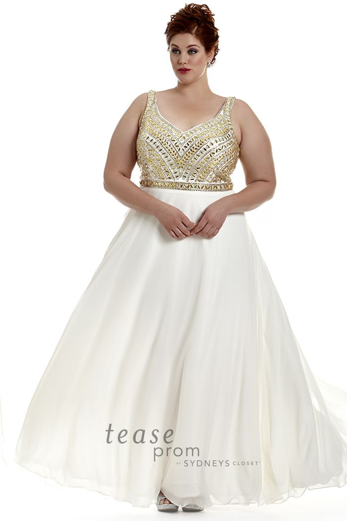 Channel you inner #Cleopatra in this plus size white and gold prom ...