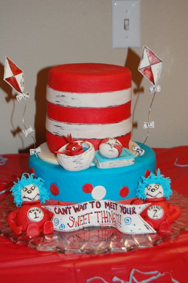 Incredible Thing 1 Thing 2 Seuss Baby Shower Cake Kids Cake Seuss Baby Funny Birthday Cards Online Necthendildamsfinfo