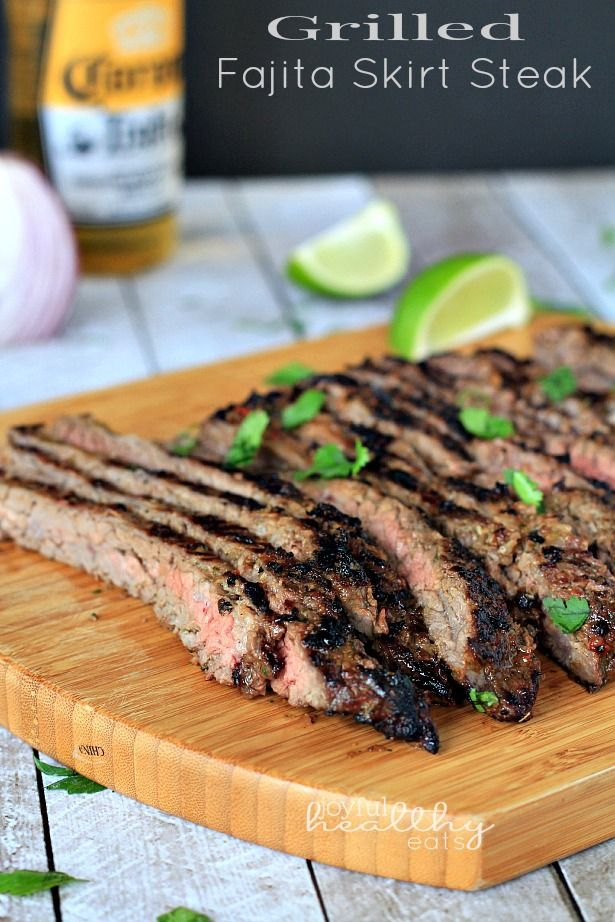 Grilled Fajita Skirt Steak | www.joyfulhealthyeats.com | #Steak #MexicanFood #cincodemayo #fajitas #marinade #paleo #glutenfree