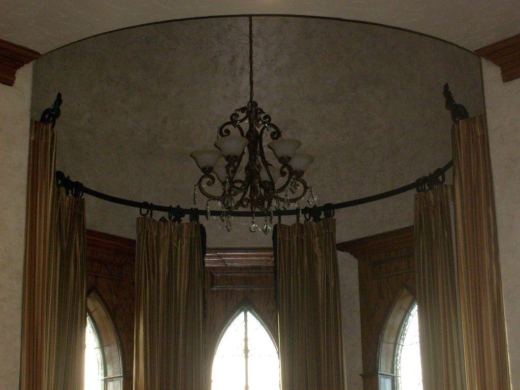Custom flat iron curtain rod custom oval rings brackets and finials old world tuscan - Custom iron curtain rods ...