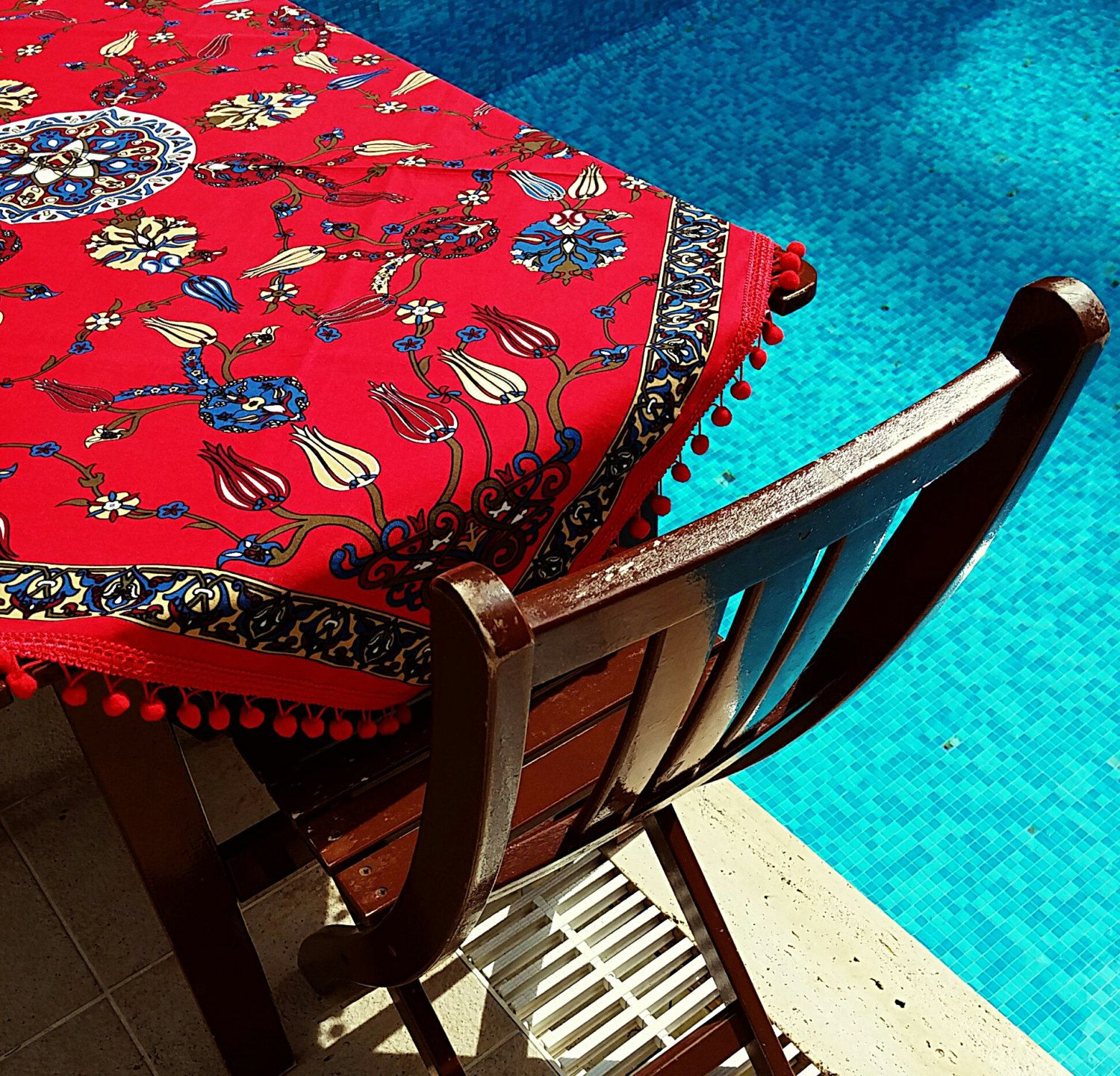 123x126cm Ottoman Red Floral Tile Patterned Colorful Tablecloth Authentic  Pomu2026