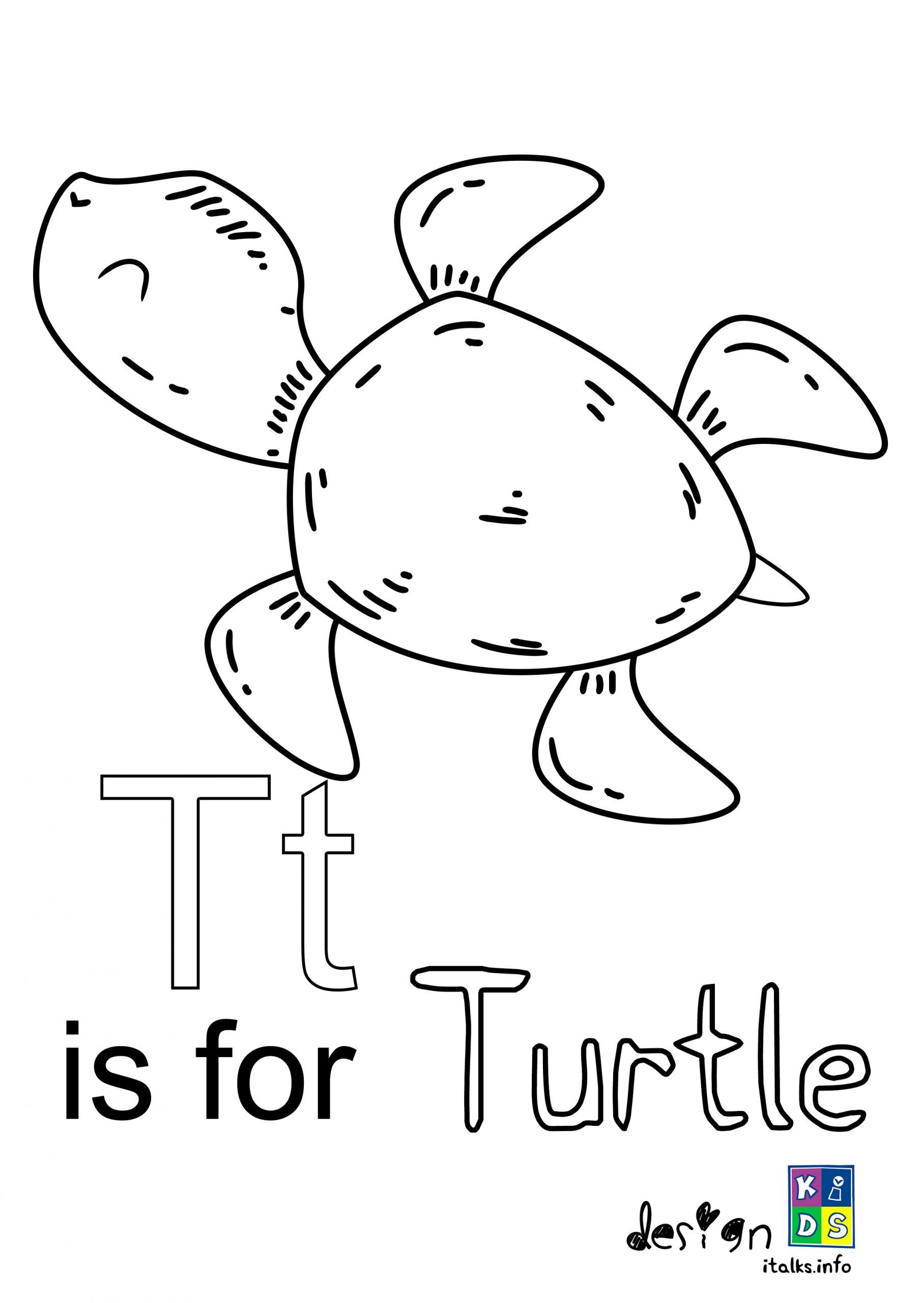 Turtle Letter T Coloring Page In 2020 Free Coloring Pages