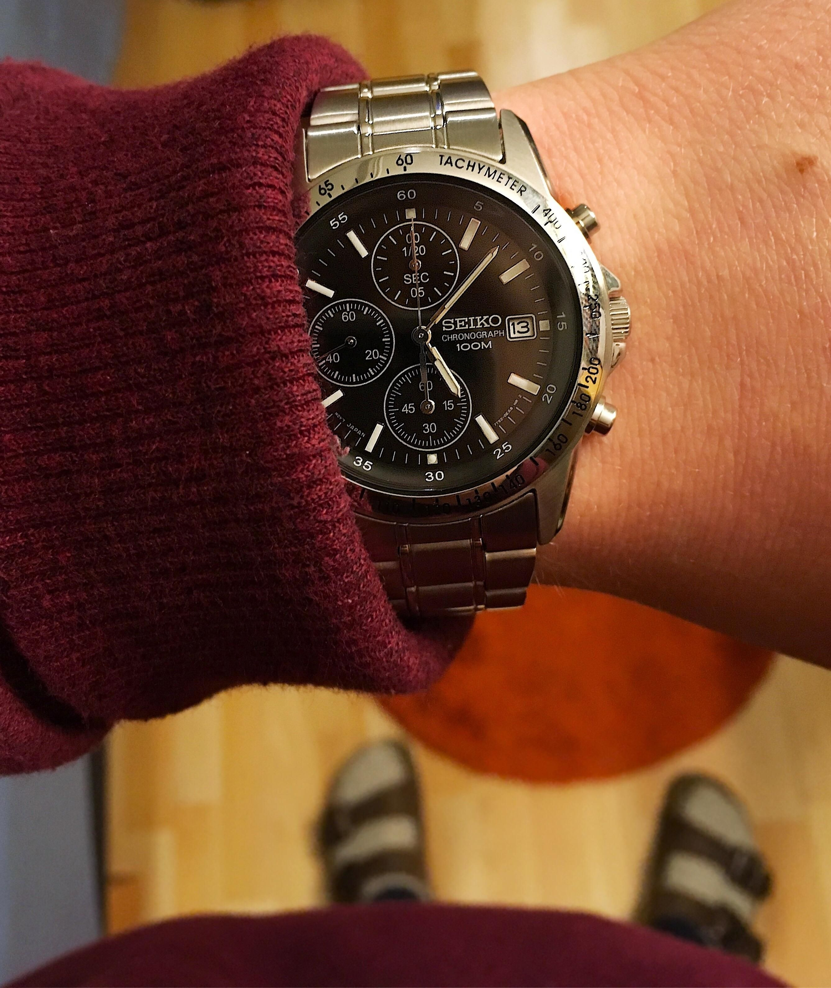 Seiko Men39s Chronograph 100m Sports Watch Ssb007p1 T Solar Blue Dial Stainless Steel Mens Ssc221 Silver Snd367 Got My First Today Http Ifttt 2yy0t04