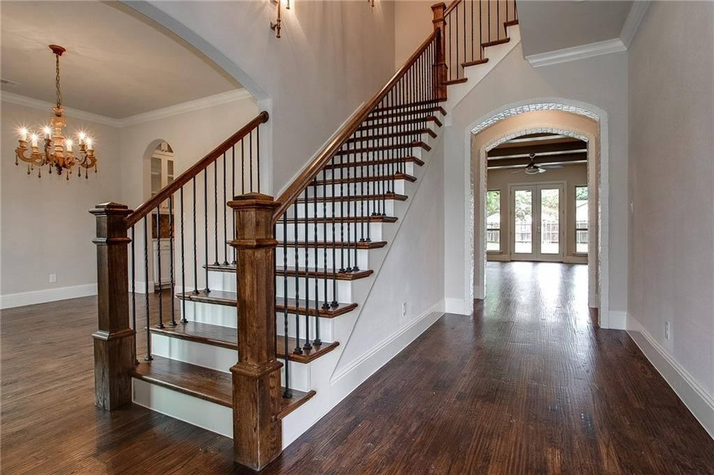 Traditional Staircase With Bennett Stair Company Custom Wrought Iron  Baluster And Wood Hand Railings, High Ceiling