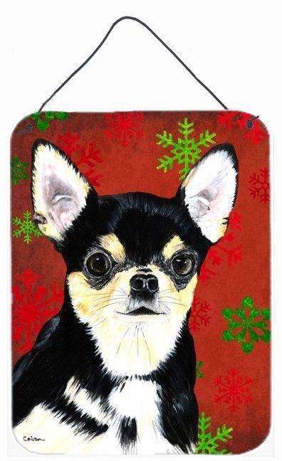 Chihuahua Red Snowflakes Holiday Christmas Metal Wall or Door Hanging Prints