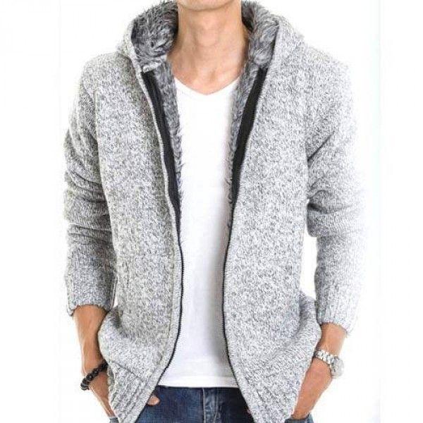736010fe45fcc Veste Capuche Fashion Esprit Gilet Chaud Homme Fourrure Coton Laine Gris  clair