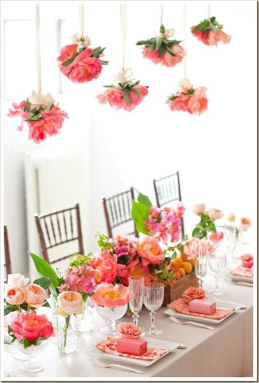 apricots, fruit crates, crystal, coral charm peonies.  These colors and the fruit are fabulous.