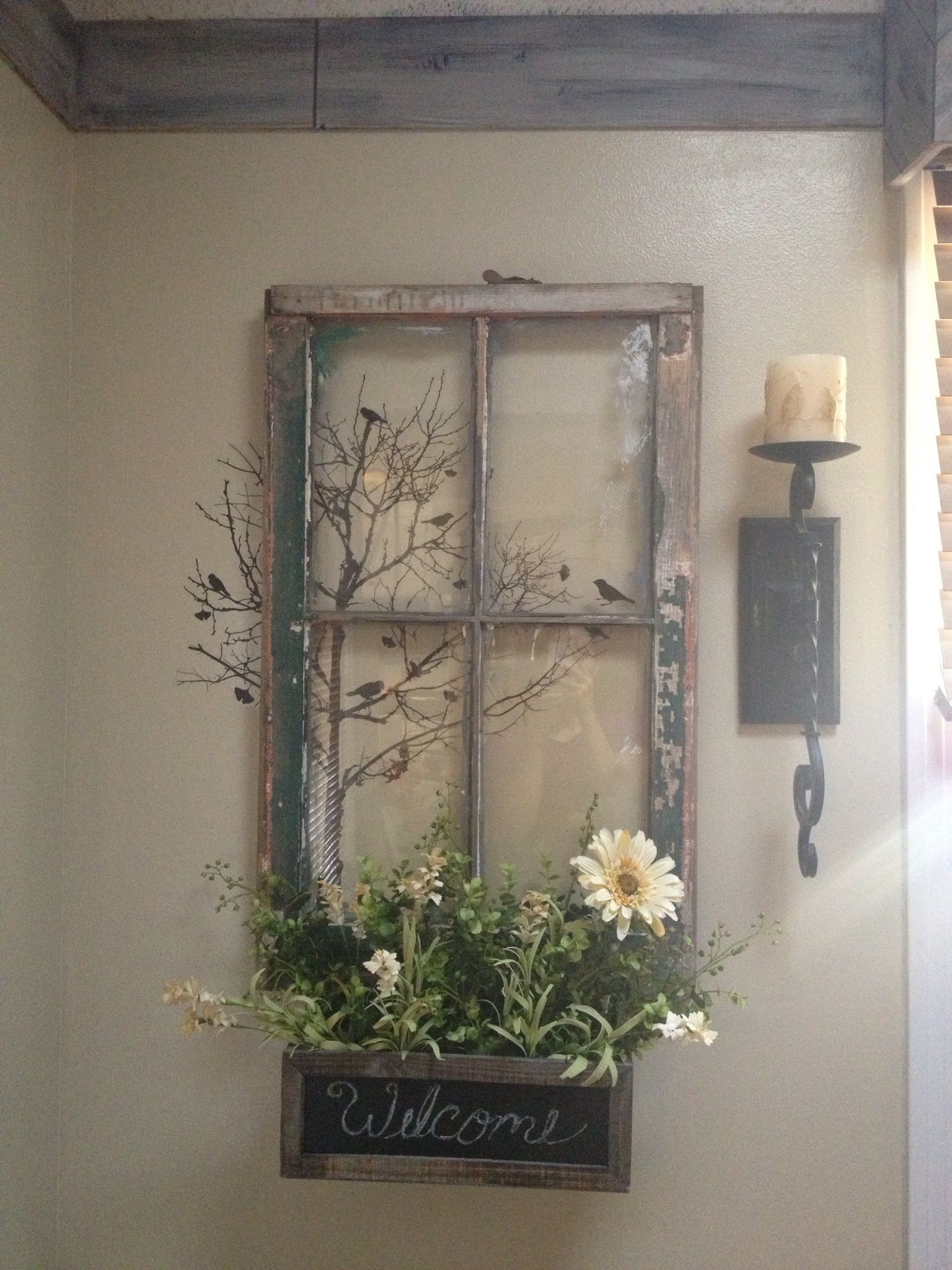 My vision of an old window repurposed except with a mirror instead ...