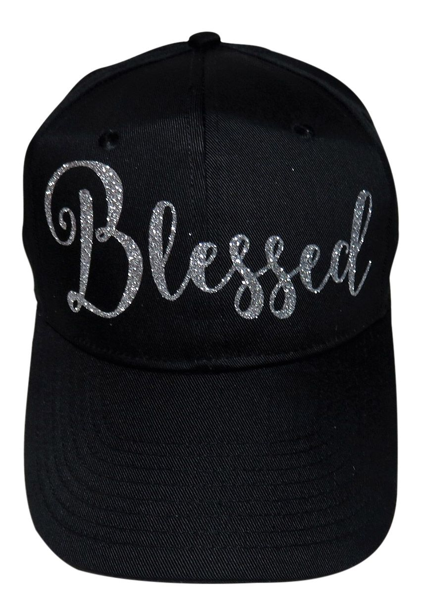 "Silver Glitter ""Blessed"" on Black 6 Panel Baseball Cap"