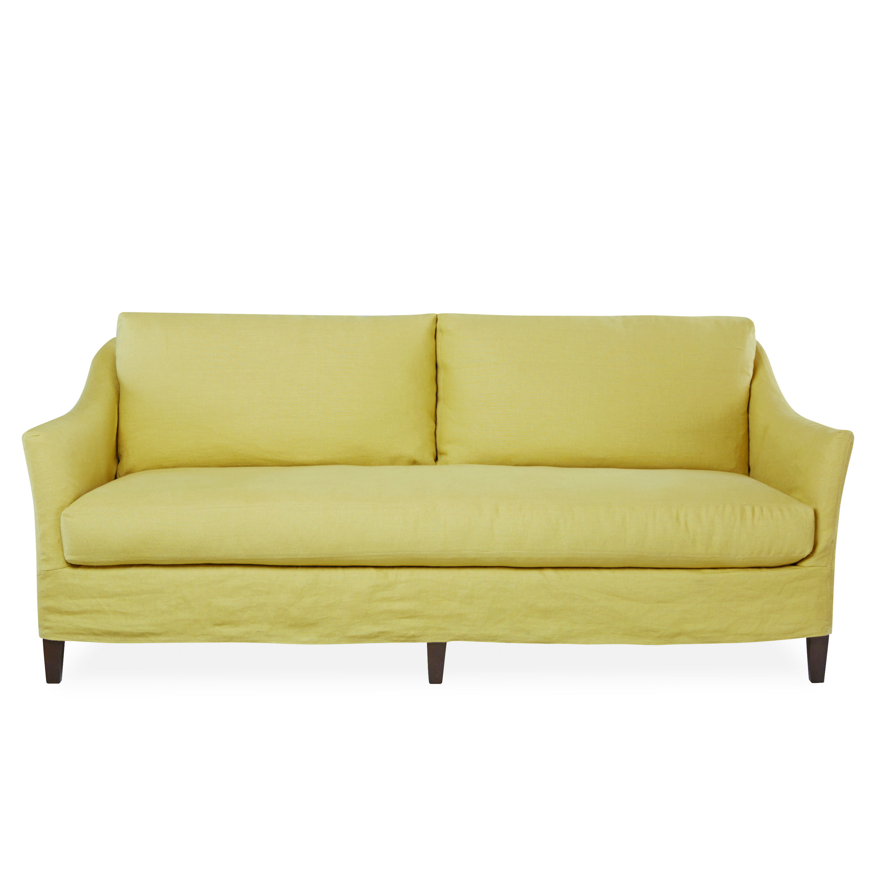 Our Nantucket S Curved Arms Add A Little Flair To The Typical Track Arm Sofa Bench Seat Cushion Adds Style And Comfort Short Slipcover Keeps