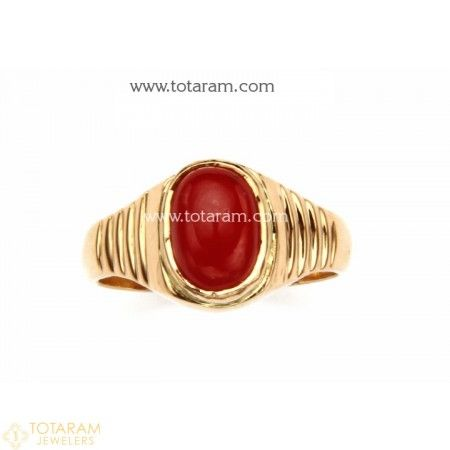 22K Gold Men s Ring with Coral 235 GR2510 Buy this Latest