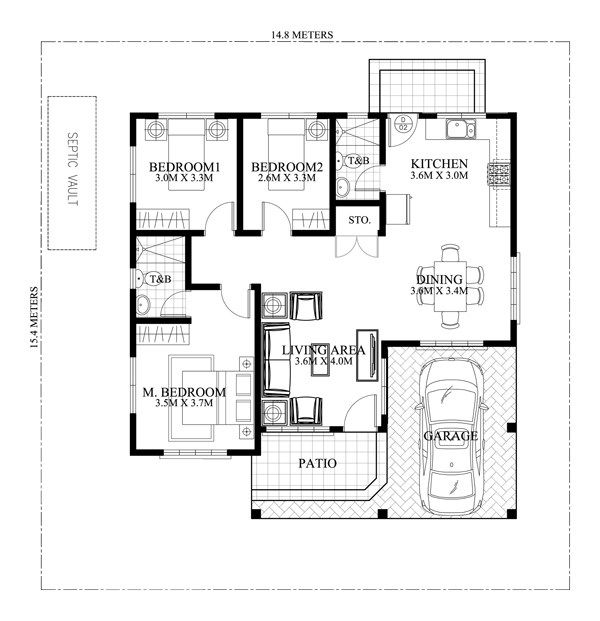 Clarissa One Story House With Elegance Shd 2015020 Pinoy Eplans Bungalow Floor Plans House Floor Design Model House Plan