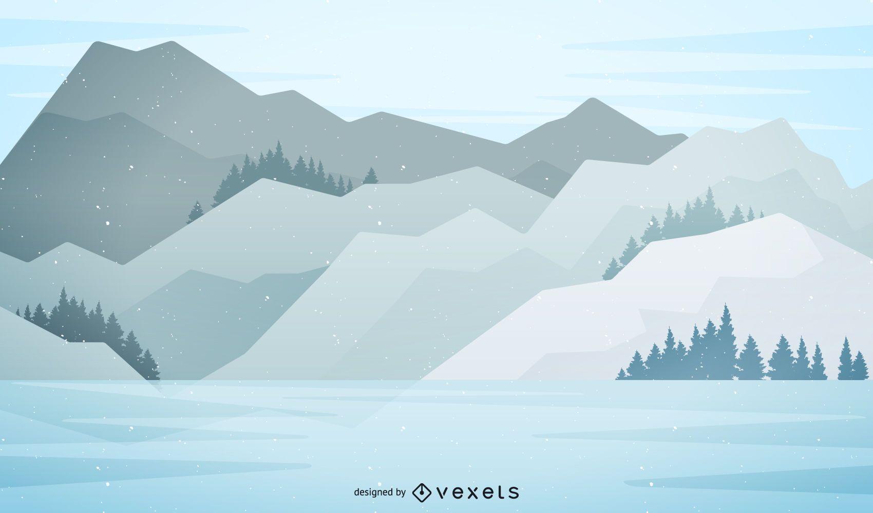 Snowy Mountain Landscape Illustration Landscape Illustration Mountain Landscape Illustration