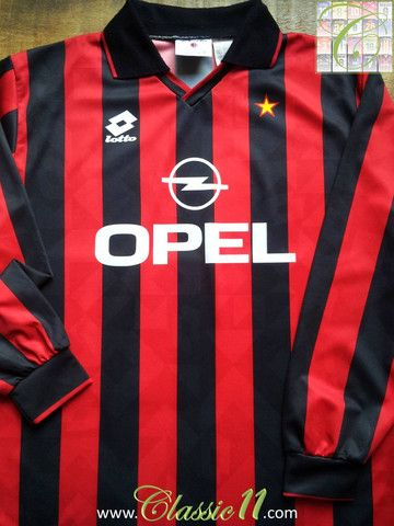 5cca330032f Relive AC Milan s 1994 1995 season with this vintage Lotto long sleeve home  football shirt.