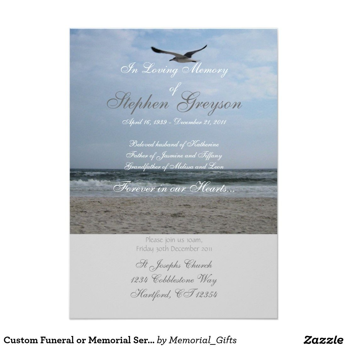 Custom Funeral or Memorial Service Invitation 5 X 7 Invitation – Invitation to a Funeral
