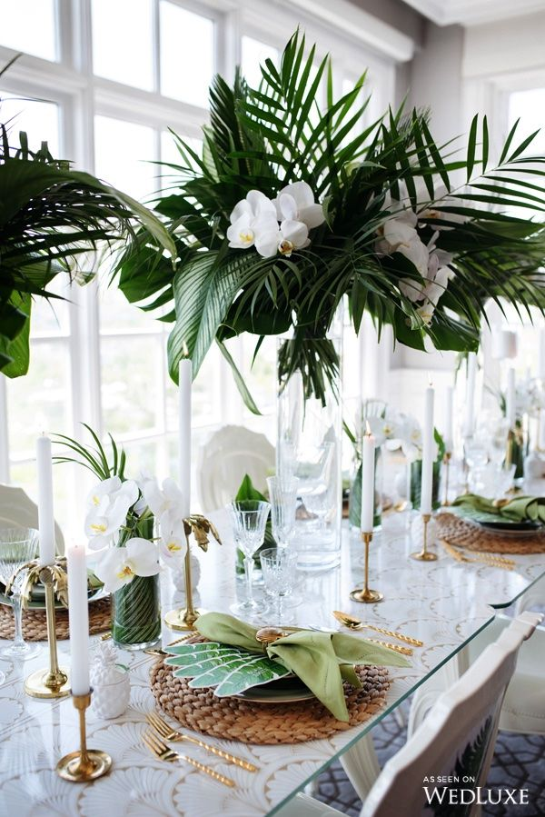 This Botanical Miami Inspired Tablescape Is Perfectly Accented With Greenery And Gold Photography B Wedding Centerpieces Wedding Table Wedding Decorations