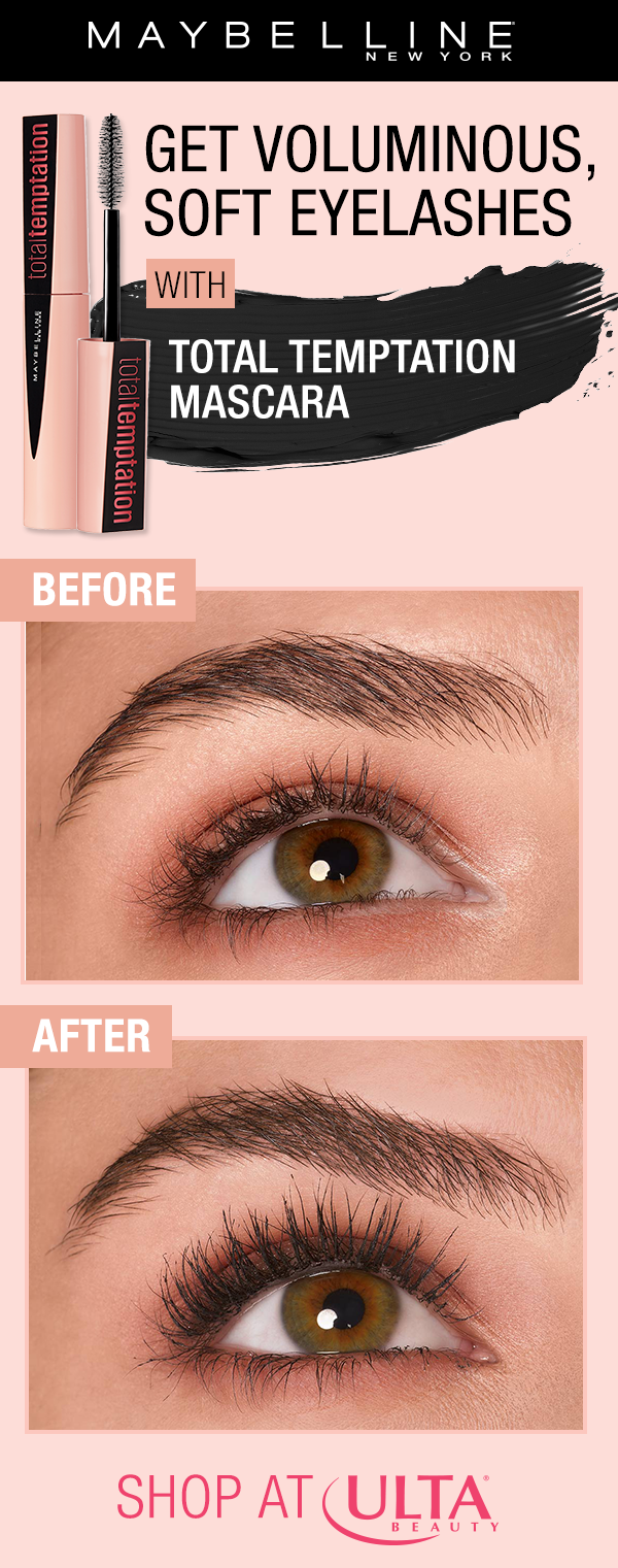 f2ae79e25a6 Get voluminous, natural lashes using NEW Maybelline Total Temptation mascara!  This mascara is infused