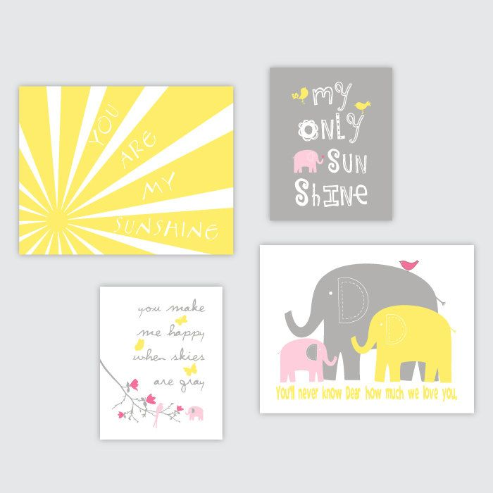 Baby Girl Nursery decor Elephant Nursery art You are my sunshine ...
